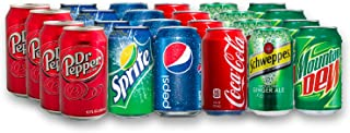 24 Can Soda Variety Pack - Assortment of Coke, Pepsi, Dr. Pepper, Mountain Dew, Sprite and Schweppes Ginger Ale - Home, Office or Party Refrigerator Restock Pack - By MaxPax