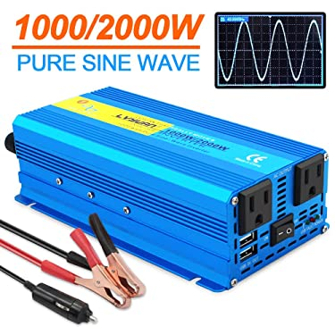 Yinleader 1000W Pure Sine Wave Car Power Inverter dc 12V to 110V ac Car Converter with Dual AC Outlets and Dual USB Charging Ports