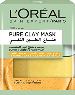 L'Oreal Paris Pure Clay Yellow Face Mask With Lemon Extract Cleanses And Evens Skin Tones, 50 ml