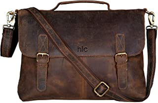 18 Inch Retro Buffalo Hunter Leather Laptop Messenger Bag Office Briefcase  College Bag for Men and 8db34eab6e7