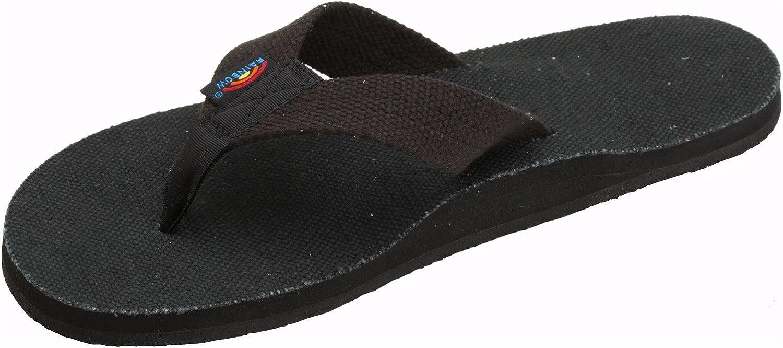 Rainbow Sandals Women's Hemp Single Layer Wide Strap, Black, X-Large (8.5-9.5)