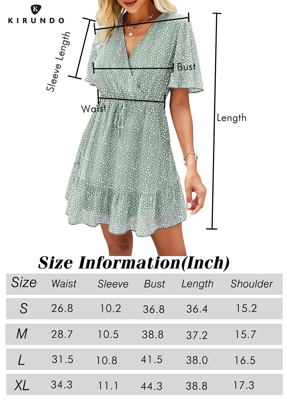 KIRUNDO Women's Summer Dress Short Sleeve Ruffle Leopard Print Sexy V Neck High Waist Short Flowy Mini Dress with Belt