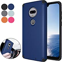 Ownest Compatible Moto G7 Case/Moto G7 Plus Case,Anti-Scratch Silicone Plastic Shell Built-in Magnetic Metal Plate,Resistant Thin Lightweight Slim Protective Cases for Motorola Moto G7-(Navy Blue-4)