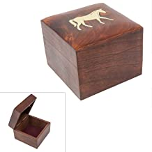 Handmade Wood Square Box Carved by Traditional Artisans of India- Wood Box Storage-Square Wood Box for Trinkets-Horse Charm,4.5 Inch