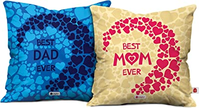 Indigifts Satin Cushion Cover with Filler (12x12-inch, Pink and Blue) - Set of 2