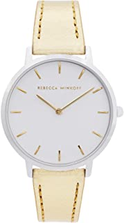 Rebecca Minkoff Women's Major Stainless Steel Quartz Watch with Leather Strap, Gold, 16 (Model: 2200390)