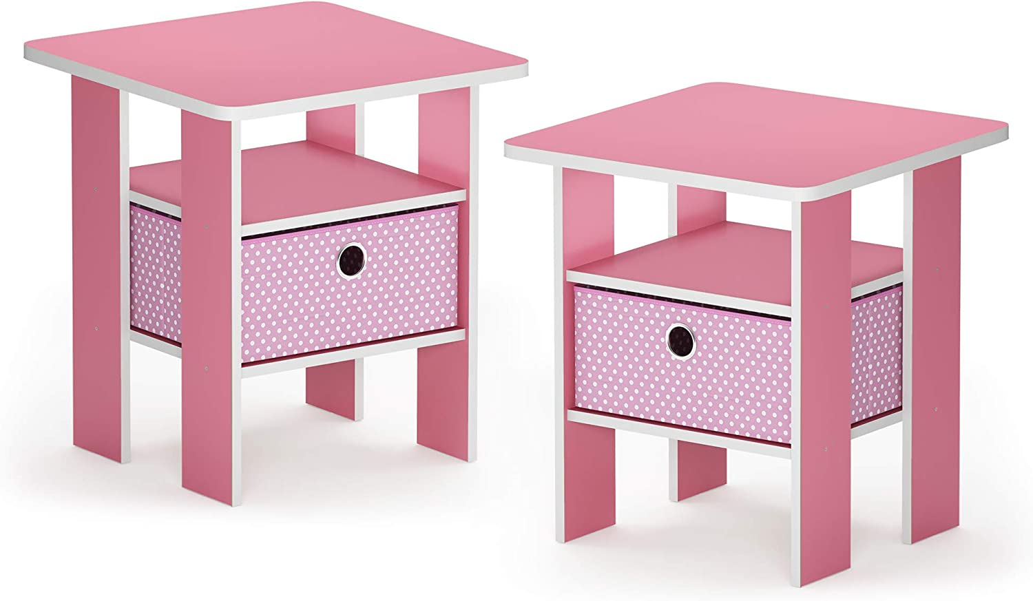 FURINNO 2-11157PI Andrey 2-Pack Bin Drawer End Table Nightstand, Light Pink