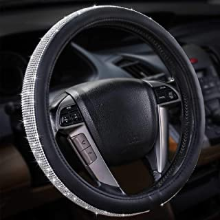Leader Accessories Odor-Free 15 Inch Black Cristal Diamond Leather Steeling Wheel Cover Fancy Blingbling Anti-Slip Wheel P...