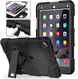 iPad 9.7 5th 6th Generation Case, iPad Air 2 Case, iPad Pro 9.7 Case,Hybrid Shockproof Rugged Drop Protection Cover with Stand for iPad 9.7 5th 6th Generation A1893/ A1954/ A1822/ A1823 (Black)