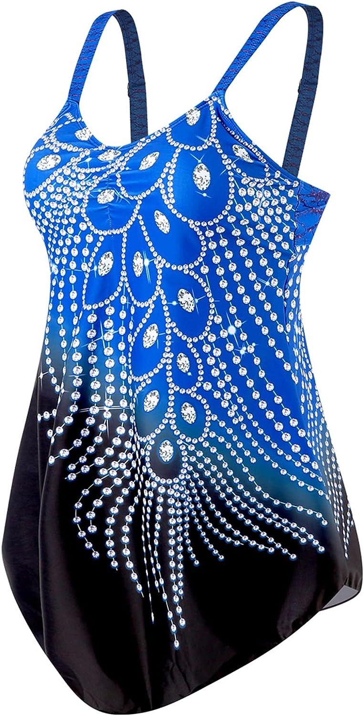 Two Piece Swimsuit for Women Bathing Suit Diamond Print Patchwork Swimwear Dress Tankini Tops+ Bottom Bikini Set
