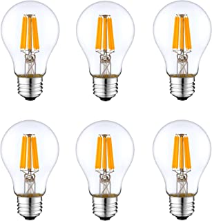 6 Pack DC 12V Pendant Cool White 6000k 6 Watt LED Edison Filament A19 A60 Light Bulb E26 E27 Medium Base Lamp DC 12 Volt C...