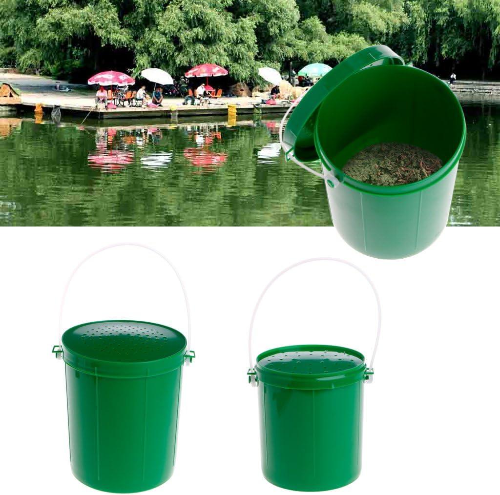 se/ñuelos Aparejos de contenedor Cubo de Cebo de Pesca WT-DDJJK Caja de Herramientas de Pesca lombriz de Tierra Viva Respirable Gusano