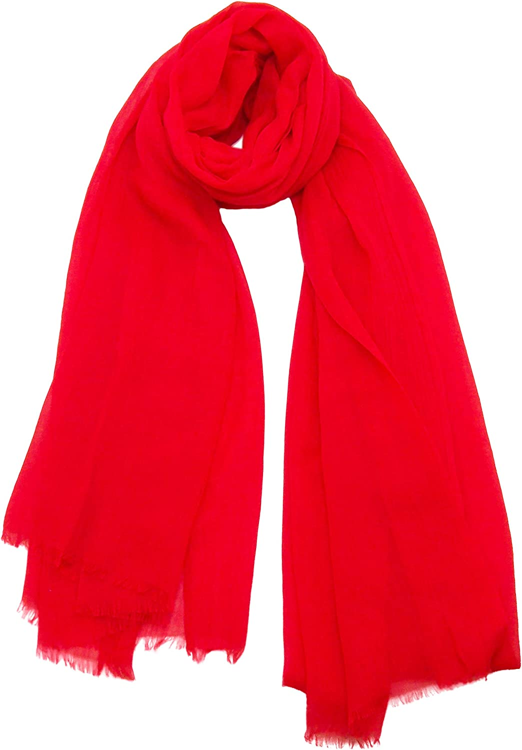 bluee Pacific Solid Silk and Linen Scarf in Bright Red