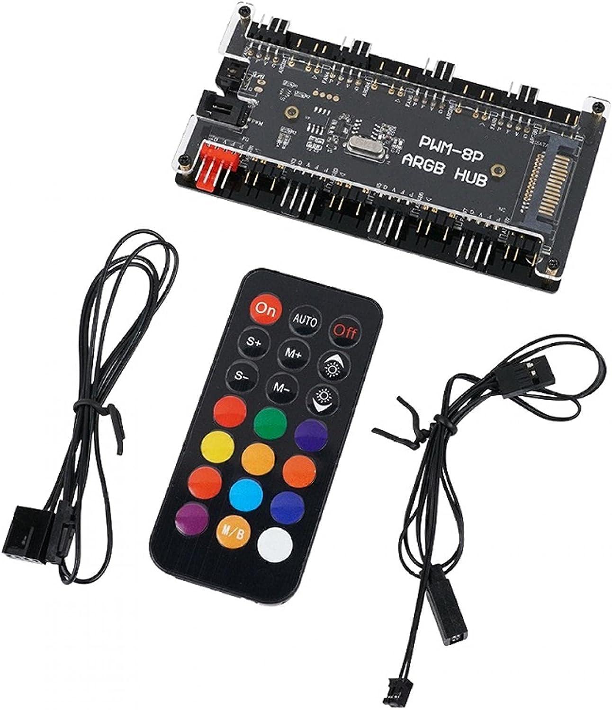 ALEOHALTER DIY 3 en 1 RGB Sync Caso controlador de ventilador Hub para PC PWM Fan Hub PC CPU Ventiladores Splitter Soporte simultáneo inicio de 8 canales 3 pines ventiladores