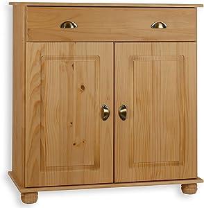 IDIMEX Buffet Colmar Commode bahut vaisselier Rangement avec 1 tiroir et 2 Portes battantes en pin Massif Finition teintée/cirée