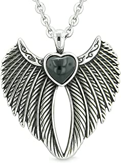 Angel Wings Magic Heart Protection Powers Amulet Simulated Black Onyx Pendant 18 inch Necklace