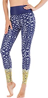 LafyKoly Women's High Waist Printed Yoga Pants Workout Running Leggings Tummy Control Capris Stretch Athletic Tights