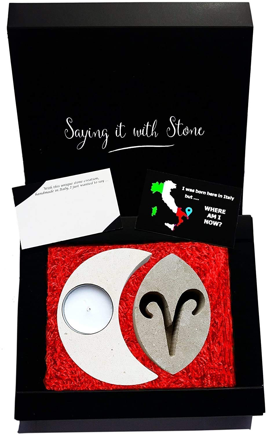 Aries Stone Translated Tealight Candle Holder Handmade Italy in Gift Box Popular overseas -