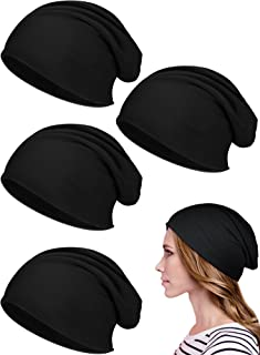 SATINIOR 4 Pieces Slouchy Beanie Caps with Buttons Bouffant Cap Elastic Sleeping Hats Button Headwrap