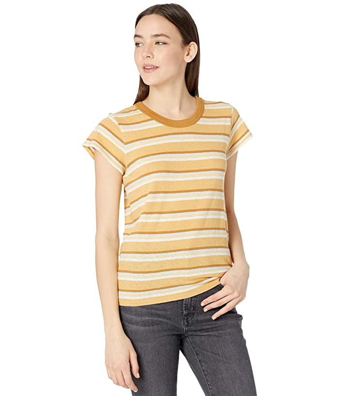 70s Clothes | Hippie Clothes & Outfits Madewell The Perfect Vintage Tee in Sahara Sand Stripe Womens Clothing $35.00 AT vintagedancer.com