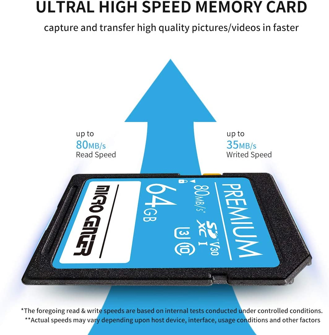 Premium 64GB SDXC Card 2 Pack by Micro Center, Class 10 SD Flash Memory Card UHS-I C10 U3 V30 4K UHD Video R/W Speed up to 80/35 MB/s for Cameras Computers Trail Cams (64GB x 2)