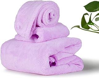 AzWeiler Luxury Towel Set with Bath Towel, Hand Towel, and Shower Cap Wrap, Ultra Plush Cotton Softness, Premium Hotel Quality with Decorative Color, Super Absorbent (Lavender Purple)