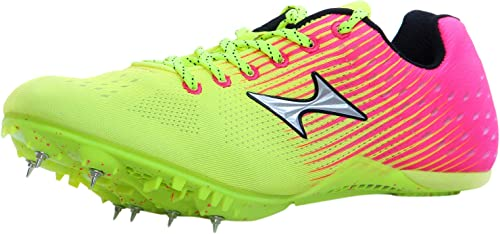 HEALTH Unisex Sprint Spikes Pink and Yellow Mesh PU Track and Field Shoes 7 5 UK