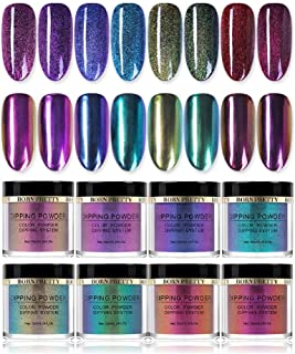 BORN PRETTY 10ml Dipping Chameleon Powder System Without Lamp Cure Natural Dry Mirror Effect Glitter 8 colors