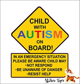 Child with Autism Car Truck Decal Sticker. Alert Responders car Vinyl Sticker Decal