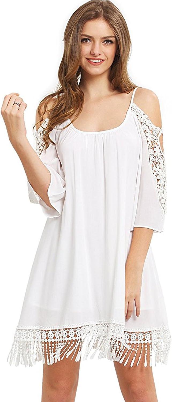 Milumia Women's Summer Cold Shoulder Crochet Loose Beach Dress