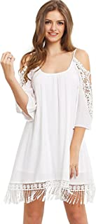 Women's Summer Cold Shoulder Crochet Lace Sleeve Loose Beach Dress