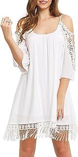 Women's Summer Cold Shoulder Crochet Loose Beach Dress