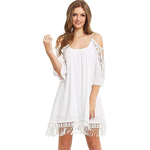 b8f5e6033e65 Milumia Women's Summer Cold Shoulder Crochet Lace Sleeve Loose Beach Dress
