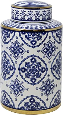 "Sagebrook Home 13461-02 Ceramic Jar, 7"" x 7"" x 12"", Blue/White/Gold"