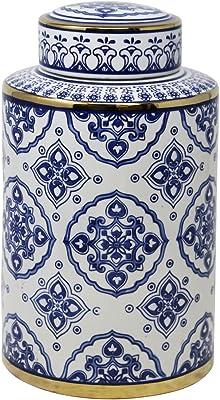 "Sagebrook Home 13461-02 Ceramic Jar, 7"" x 7"" x 12"", Blue/White/Gold"