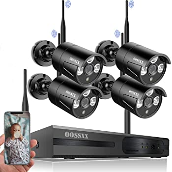 [Expandable 8CH] Wireless NVR Security Camera System Outdoor,Wireless CCTV Video Surveillance WiFi Camera Systems with DVR,4Pcs 1080P Wireless Waterproof IP Cameras