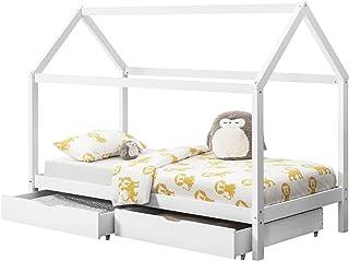 comprar comparacion en.casa Cama para niños de Madera Pino con 2 Almacenamientos 200 x 90 cm Cama Infantil Forma de casa Blanco Mate