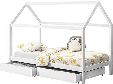 [en.casa] Lit Enfant Design Maison Cadre Structure Lit Bois Blanc avec 2 Tiroirs 206 x 98 x 150 cm Blanc
