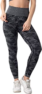 Yaluntalun High Waisted Camo Seamless Leggings for Women Tummy Control Workout Yoga Pants Fitness Sports Leggings