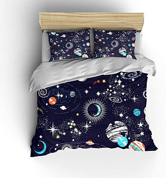 SHOMPE Galaxy Space Bedding Sets Kids Queen Size Navy Blue Universe Adventure Stars Duvet Cover Sets With 2 Pillowcases For Boys Girls Teens Bedroom NO Comforter