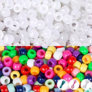 Korlon 1400 Pcs Pony Beads UV Beads, Glow in The Dark Beads for Bracelets Jewelry Making with Crystal Elastic String & 2 Elastic Cords
