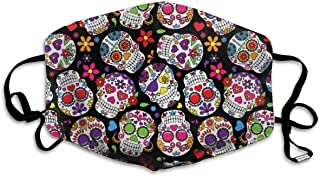 Mouth Mask for Daily Dress Up, Dead Sugar Skull Dust Mask, Washable Holiday Bones Half Face Masks for Women Men Boys and Girls, Funny Mouth Cover with Adjustable Earloop (Dead Sugar Skull)