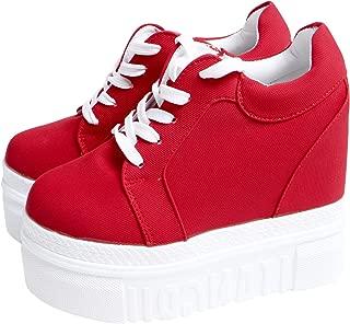 ACE SHOCK Women Fashion Platform Sneakers Wide Width High Hidden Heel Wedge Walking Shoes