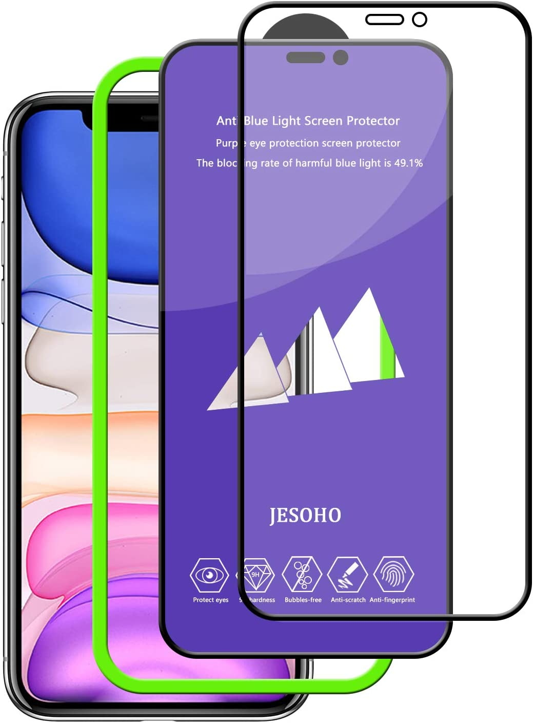 JESOHO Anti Blue Light Screen Protector for iPhone 11 Pro Max/Xs Max, Blue Light Filter Tempered Glass with Installation Frame Eye Protection Film for 11 Pro Max/Xs Max [2 Pack] (Blocking rate 49.1%)