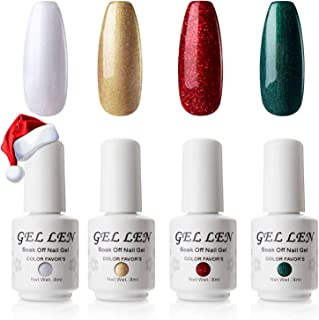 Gellen Christmas Holiday Series 4 Colors Gel Nail Polish Set (Snow White, Glitter Gold, Flame Red, Forest Green) - Special Edition Home Gel Manicure Kit