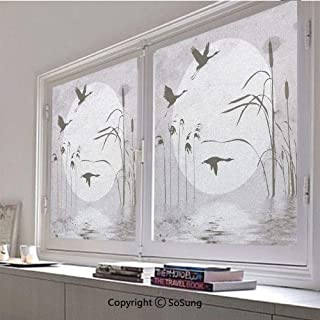 30x48 inch Decorative Window Privacy Film,Sunset Horizon Background Flying Heron Birds on The Lake River Bushes Grunge Graphic Frosted Stained Window Clings Static Cling for Home Bedroom Office