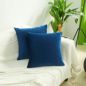 Volcanics Velvet Decorative Throw Pillow Covers Set of 2 Soft Solid Square Couch Pillow Cover Case Cushion Pillowcase 18x18 Inches for Home Decor Sofa Bedroom Car, Dark Blue