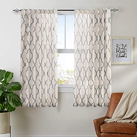 """jinchan Linen Curtains for Living Room Drapes Back Tab Curtain Moroccan Print Bedroom Drapery Dining Room Light Filtering Flax Textured Rod Pocket Window Treatment 50"""" W x 72"""" L 2 Panels Grey"""