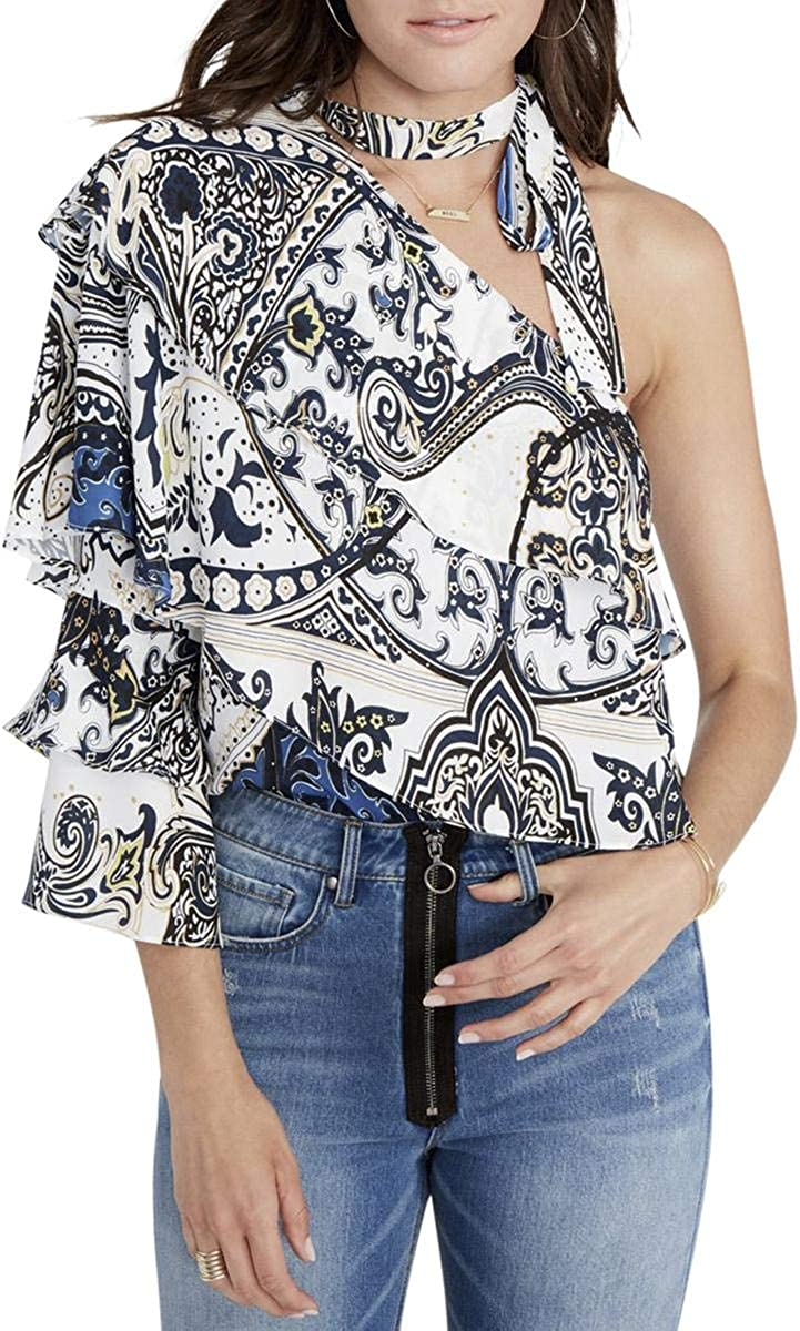Fees free Rachel Roy Womens Tiered Blouse Inventory cleanup selling sale One Shoulder