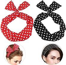 Aphrodite Beauty Care | Banda para el cabello con Lunares Accesorio para el Pelo Rockabilly Rojo Negro | Diadema con alambre flexible | 2 piezas
